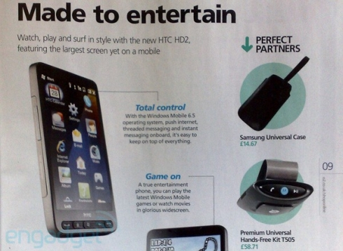 HTC HD2 (HTC Leo) Surfaces in O2 UK Catalog