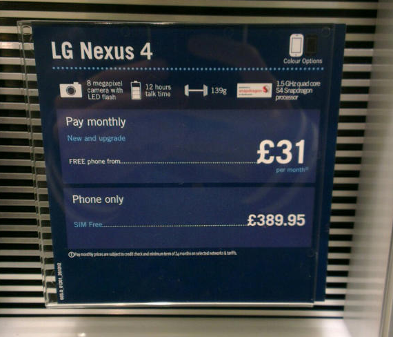 LG Nexus 4 Spotted in Carphone Warehouse Promo, Priced at ...