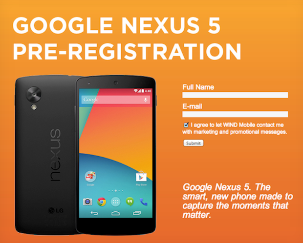 nexus 5 registration