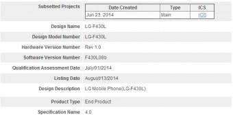 LG F430L Bluetooth SIG