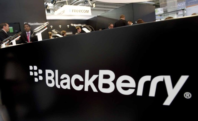 The Blackberry stand is pictured at the