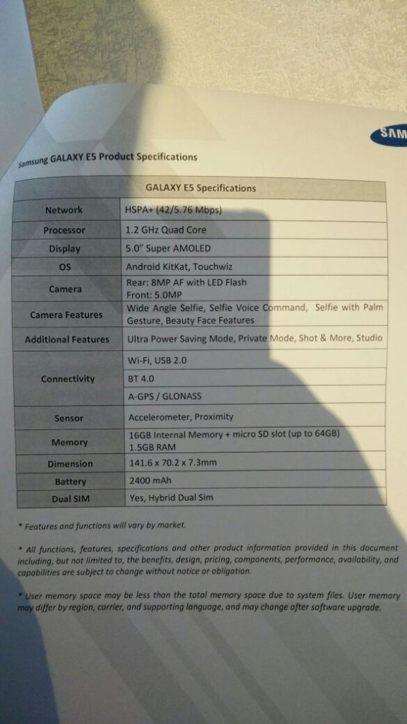 Galaxy-E5-Specifications
