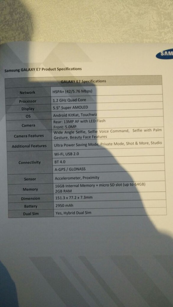 Galaxy-E7-Specifications