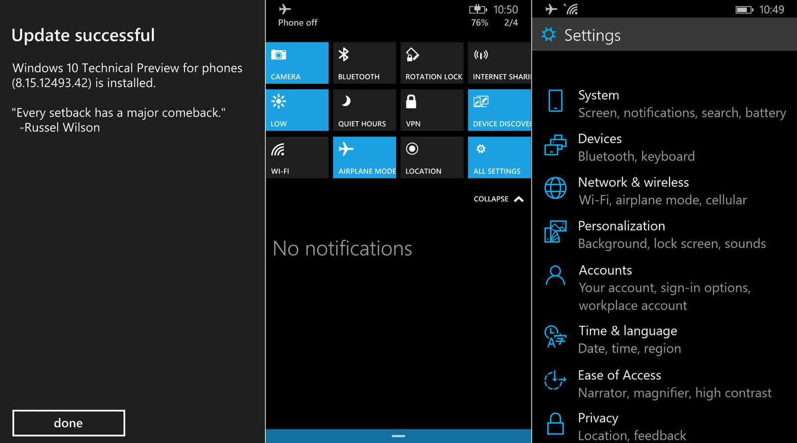 Fresh Windows 10 For Phones Preview Screenshots Pop Up