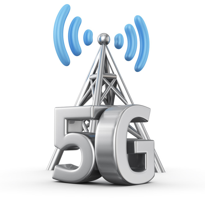 Metal antenna symbol with letters 5G on white