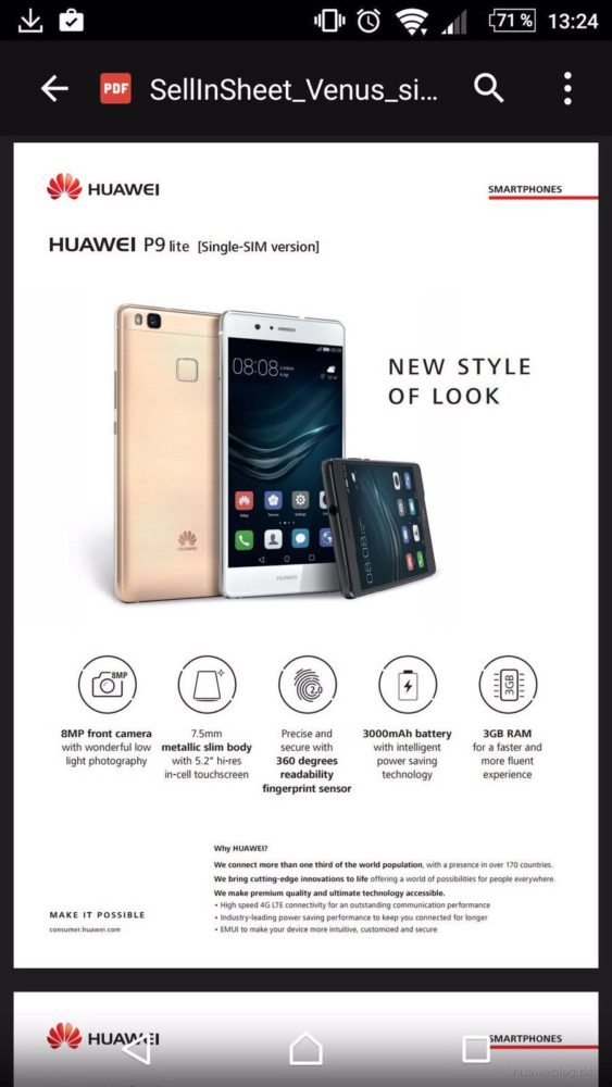 Huawei P9 Lite - specificatii (1)