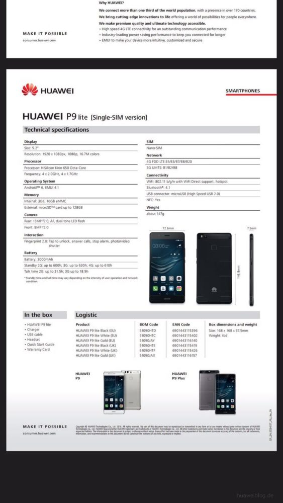 Huawei P9 Lite - specificatii (2)