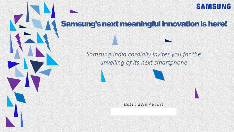 Samsung India Sends Out Press Invites for August 23rd Event